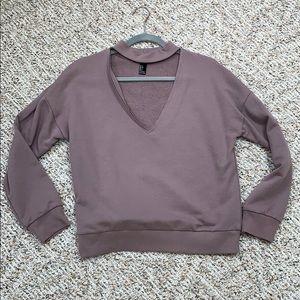 Mauve Sweatshirt with raw hem neckline